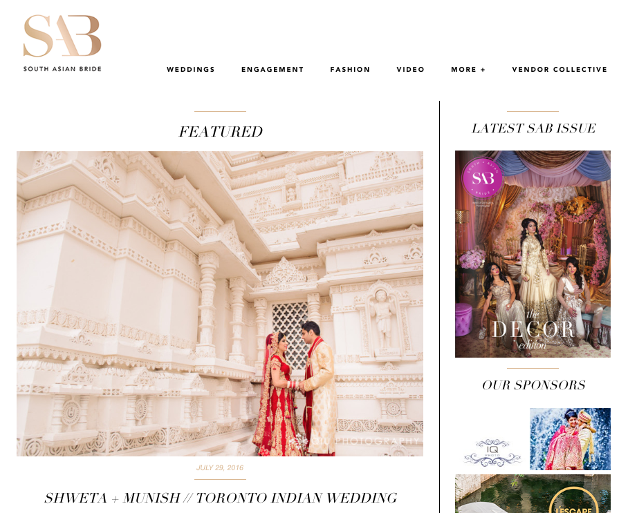Screen Shot 2016 07 30 at 10.57.21 AM Featured on South Asian Bride | Toronto Indian Wedding | Munish & Shweta