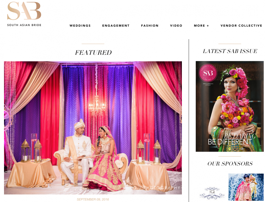 Screen Shot 2016 09 12 at 1.01.49 PM Featured on South Asian Bride | Vedic Cultural Centre and Mississauga Convention Centre Hindu Wedding |  Subhashini & Amit